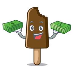 with money bag chocolate ice cream mascot cartoon vector image