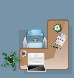 workplace concept with flowers coffee and office vector image