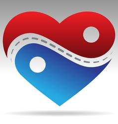 ying yang shape heart vector image