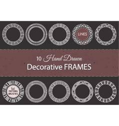 10 decorative hand drawn frames vector image vector image