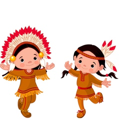 cute couple of american indians children dancing vector image