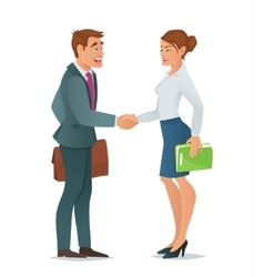 Handshake business woman and business man vector image