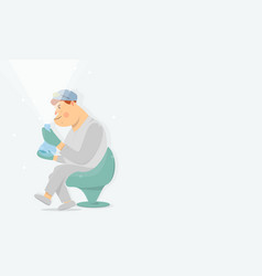 Health worker looks in a flask web banner vector