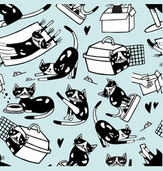 seamless pattern with funny doodle cat in vector image vector image