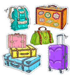 colorful sticker set suitcase bag and backpack vector image