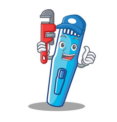 plumber trimmer mascot cartoon style vector image