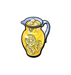 sketch cartoon lemonade glass jug isolated vector image