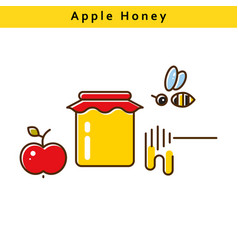 apple honey colored line icons vector image