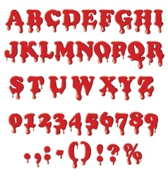 Bloody alphabet isolated on white background vector image