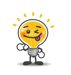 Bulb lamp cartoon isolated showing thumb up on the vector