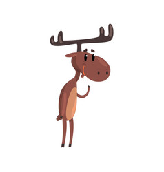 cute funny deer cartoon character with antlers vector image