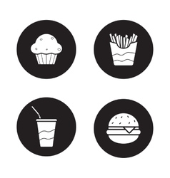 Fast food black icons set vector image vector image