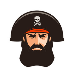 pirate logo or label portrait of bearded man in vector image vector image