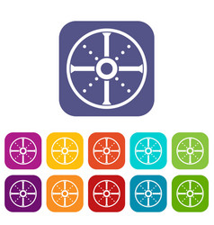 Round shield icons set vector