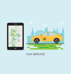 taxi cab and mobile phone with map on city vector image vector image