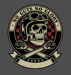vintage biker skull with crossed monkey wrenches vector image