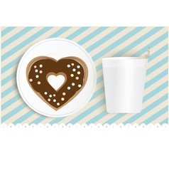 Chocolate doughnut and cup with copyspace vector image