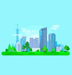 Colorful cityscape with green trees vector