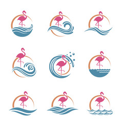 flamingo emblems set vector image