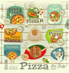 pizza stickers set vector image vector image