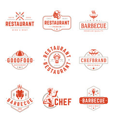 restaurant logos templates objects set vector image
