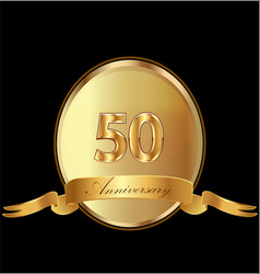 50th golden anniversary birthday seal icon vector image
