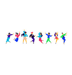 a group young happy girls and guys are dancing vector image