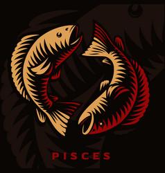 A pisces zodiac sign vector
