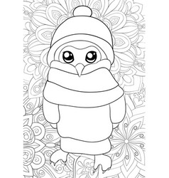adult coloring bookpage a cartoon owl with a vector image