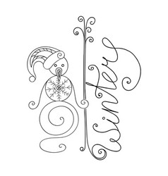 adult coloring cute snowman and winter inscription vector image
