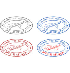 Air mail oval postmarks colored set vector