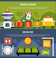 Airport service information flat banners vector