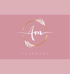 Am a m letters logo design with golden circle vector