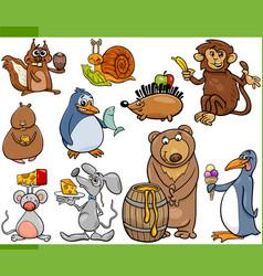 Animals and food cartoon set vector