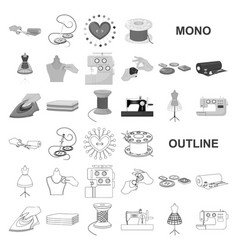Atelier and equipment monochrom icons in set vector