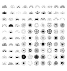 big set of retro sun burst shapes 100 vintage vector image