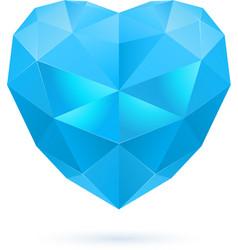 Blue polygon heart vector image vector image