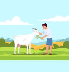 Boy feed goat semi flat vector