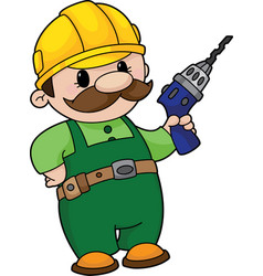 Builder with a drill vector