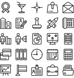 Business and office line icons 18 vector