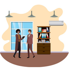 businessmen in work office avatar character vector image