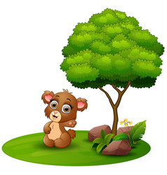 cartoon bear waving hand under a tree on a white b vector image