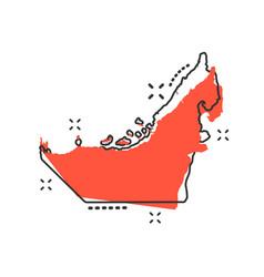 cartoon united arab emirates map icon in comic vector image