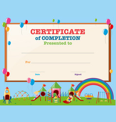 Certificate template with kids in playground vector