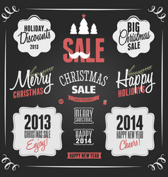 chalkboard style vintage christmas elements vector image
