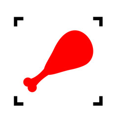 chicken leg sign red icon inside black vector image