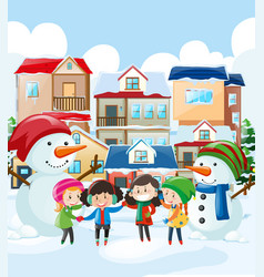 Children and snowman in the village vector
