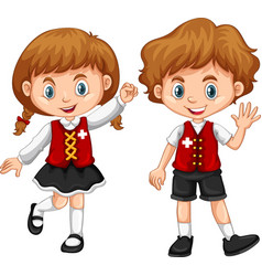 Children wearing clothes with switzerland flag vector