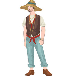 Chinese man wearing traditional straw hat vector