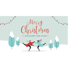 Christmas card young couple ice skating outdoors vector